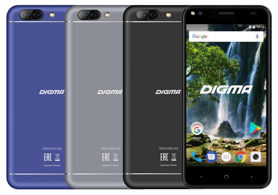 Внешний вид смартфона Digma VOX E502 4G