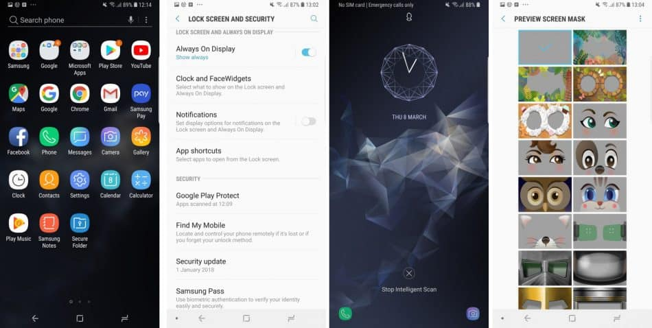 Интерфейс у смартфона Samsung Galaxy S9