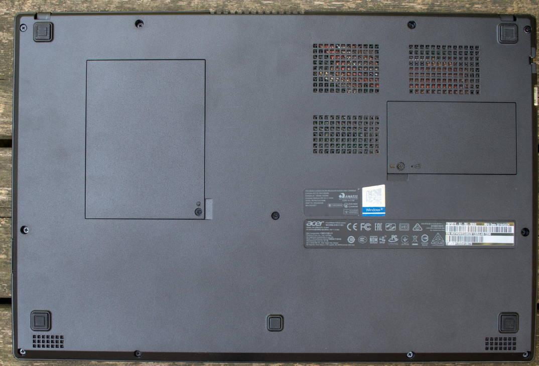 Отсеки для SSD накопителя и АКБ