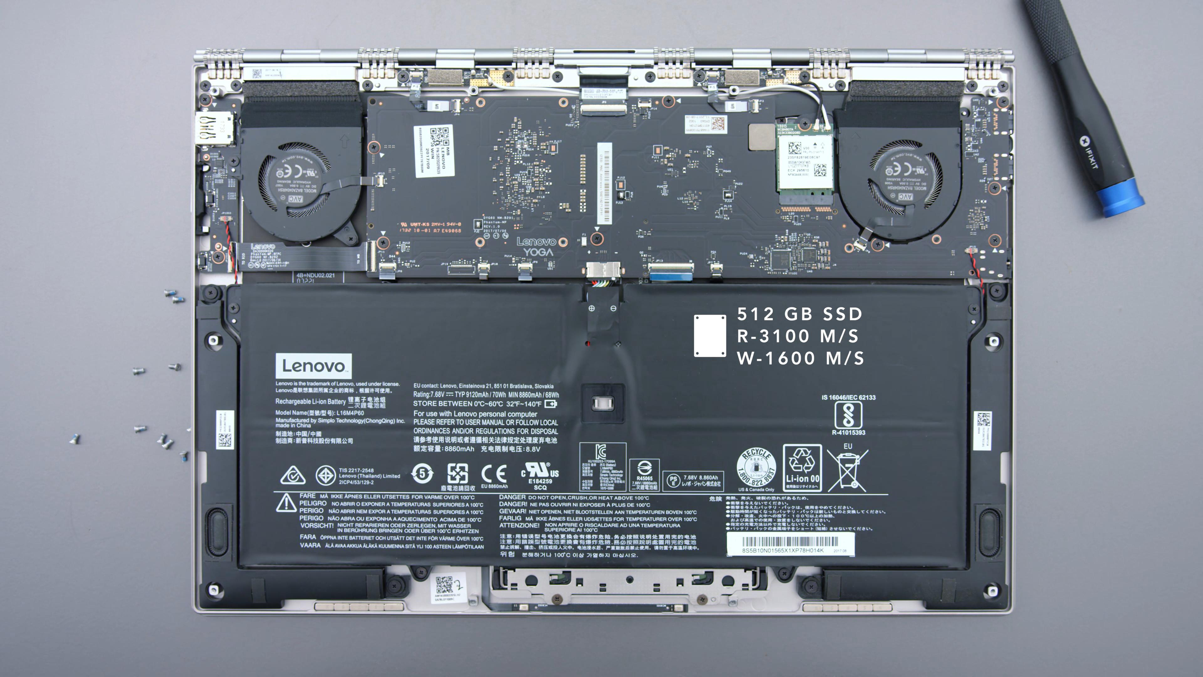 Вид на Lenovo Yoga 920 со снятой задней крышкой