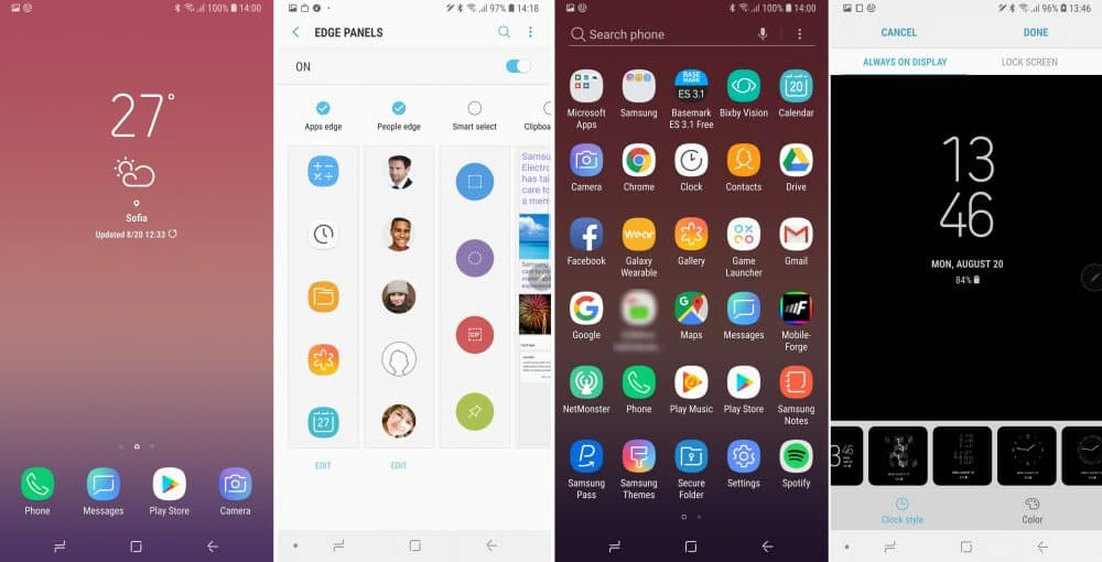 Пользовательский интерфейс смартфона Samsung Note 9