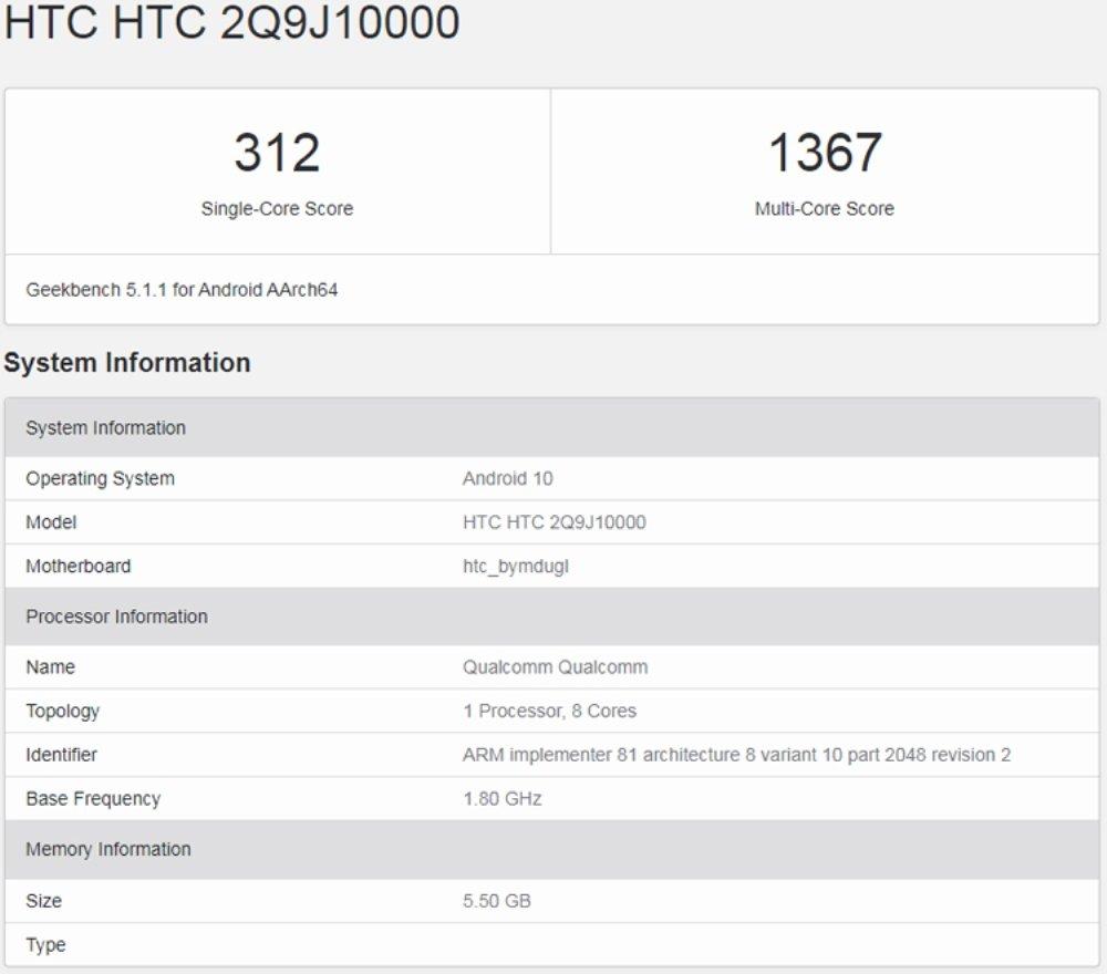 Характеристики HTC Desire 20 Pro