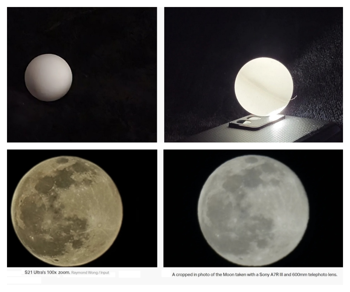 Снимки мячика для пинг-понга и луны