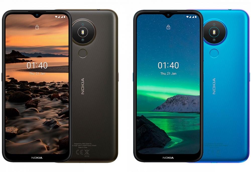 Голубой и черный Nokia 1.4