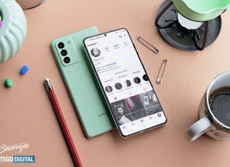 Samsung Galaxy S21 FE на столе
